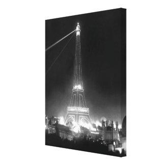 Foto blanco y negro de la noche de la torre Eiffel Lienzo Envuelto Para Galerias