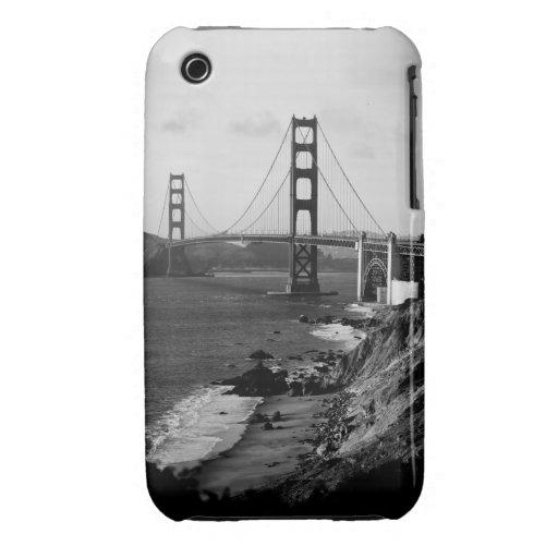Foto blanco y negro de puente Golden Gate Carcasa Para iPhone 3