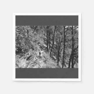 Foto blanco y negro del caminante en bosque servilletas de papel