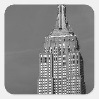 Foto blanco y negro del Empire State Building Pegatina Cuadrada