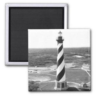 Foto blanco y negro del faro de Hatteras del cabo Imán