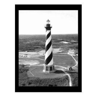 Foto blanco y negro del faro de Hatteras del cabo Tarjetas Postales