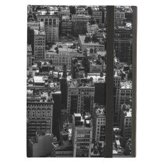 Foto blanco y negro del horizonte de New York City