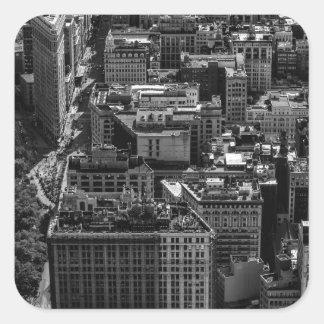 Foto blanco y negro del horizonte de New York City Calcomania Cuadradas Personalizada