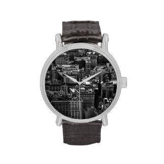 Foto blanco y negro del horizonte de New York City Relojes De Pulsera