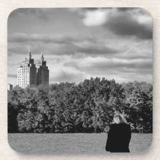 Foto blanco y negro del paisaje del Central Park Posavasos De Bebidas