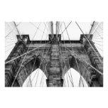 Foto blanco y negro NYC del puente de Brooklyn Fotografías