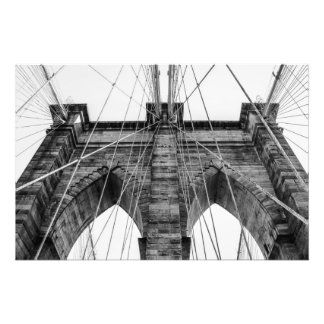 Foto blanco y negro NYC del puente de Brooklyn