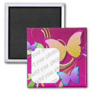 Foto brillante del personalizado de la mariposa imán cuadrado