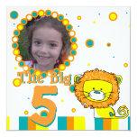 """Foto caprichosa del cumpleaños del león invitación 5.25"""" x 5.25"""""""