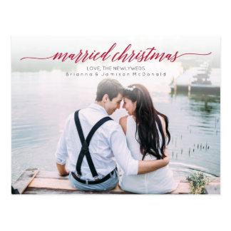 Foto casada del recién casado del navidad tarjeta postal