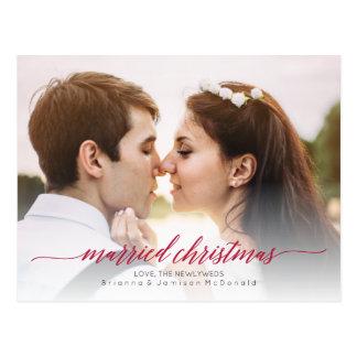 Foto casada del recién casado del navidad tarjetas postales