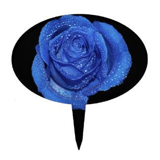 Foto color de rosa azul magnífica del arte palillos de tarta