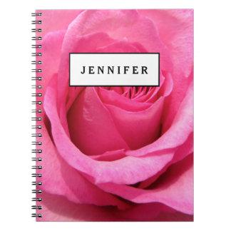 Foto color de rosa rosada del boda note book