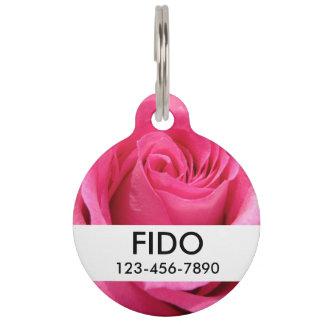 Foto color de rosa rosada del boda placas para mascotas