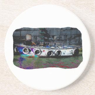 Foto coloreada única del bote pequeño posavaso para bebida