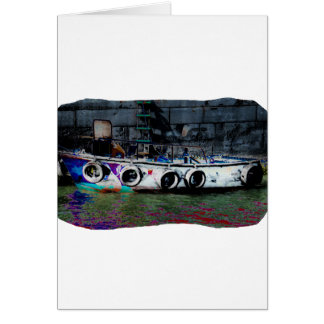 Foto coloreada única del bote pequeño tarjeta pequeña