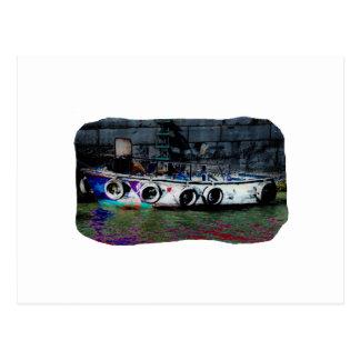 Foto coloreada única del bote pequeño tarjeta postal