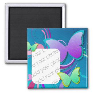 Foto colorida del personalizado de la mariposa imán cuadrado