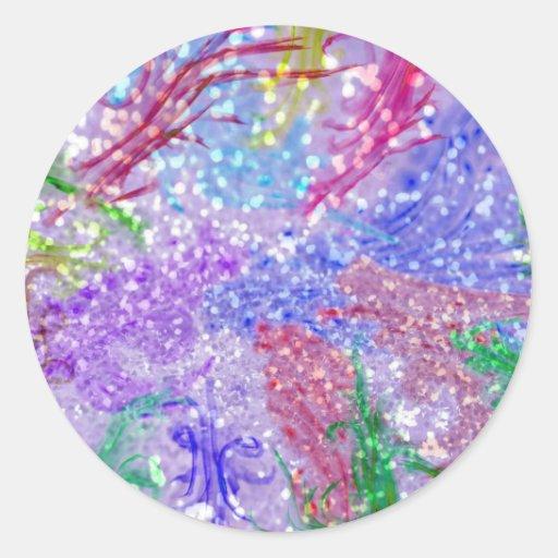 Foto colorida púrpura del brillo del extracto de pegatina redonda