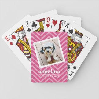 Foto con nombre del personalizado del modelo de barajas de cartas