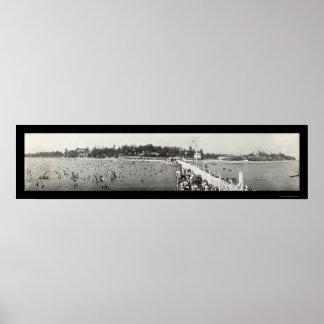 Foto cristalina 1914 de Ontario de la playa Póster