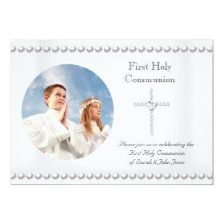 """Foto cruzada blanca de la comunión santa del chica invitación 5"""" x 7"""""""