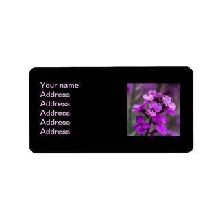 Foto cuadrada de las flores rosadas macras etiquetas de dirección