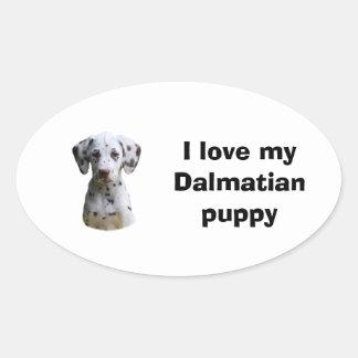 Foto dálmata del perro de perrito pegatina de óval personalizadas