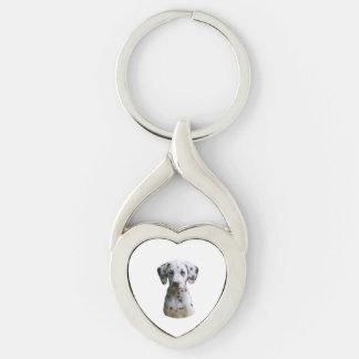 Foto dálmata del perro de perrito llavero plateado en forma de corazón