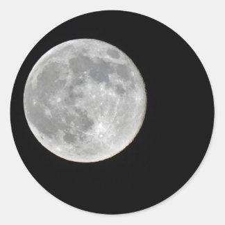 Foto de alta resolución de la Luna Llena Pegatina Redonda