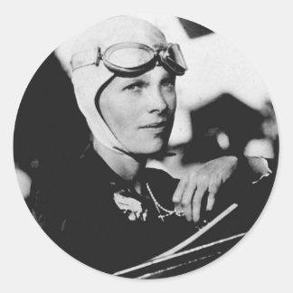 Foto de Amelia Earhart del vintage Pegatina Redonda
