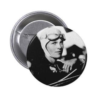 Foto de Amelia Earhart del vintage Pin Redondo De 2 Pulgadas