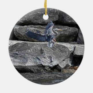 Foto de aterrizaje de Birdlover de la fauna de la Adorno Navideño Redondo De Cerámica