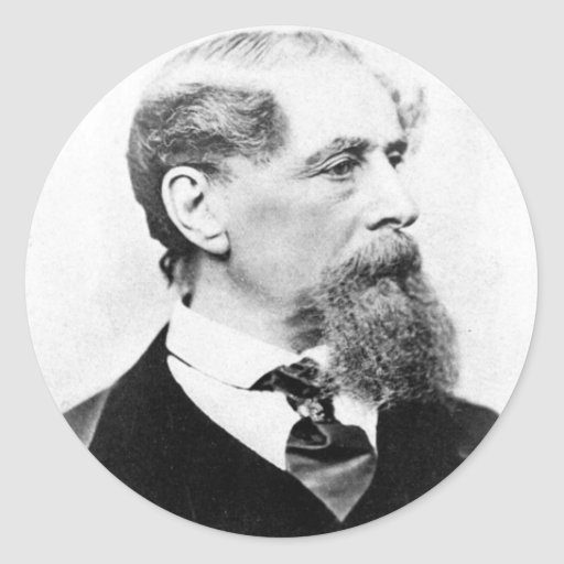 Foto de Charles Dickens Pegatina Redonda