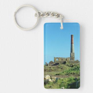 Foto de Cornualles Inglaterra de la mina de Levant Llavero Rectangular Acrílico A Doble Cara