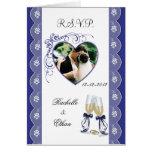 Foto de cristal RSVP Notecard bl del boda de Champ Felicitacion