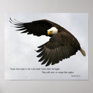 Foto de Eagle con verso de la biblia Posters