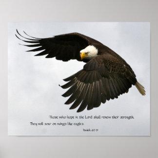 Foto de Eagle con verso de la biblia Poster