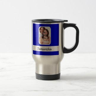 Foto de encargo azul y blanca taza de viaje de acero inoxidable