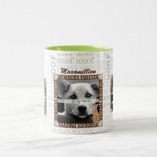 Foto de encargo conmemorativa del mascota del taza de café de dos colores