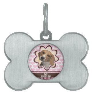 Foto de encargo de los corazones del perrito de placa de nombre de mascota