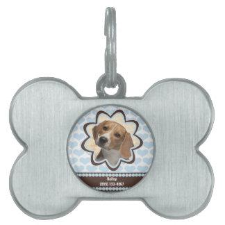 Foto de encargo de los corazones del perrito de placa de mascota