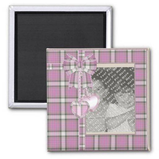 Foto de encargo del boda de la tela escocesa imán cuadrado
