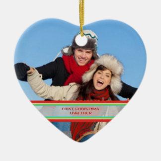 Foto de encargo del navidad de las luces del día adorno navideño de cerámica en forma de corazón