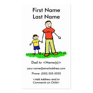 Foto de encargo del papá y del hijo que llama las tarjetas de visita
