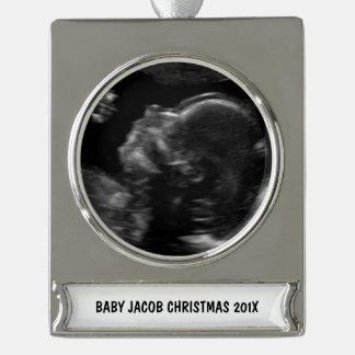 Foto de encargo del ultrasonido del bebé rótulos de adorno plateado