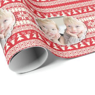 Foto de encargo, rojo y blanco, navidad papel de regalo
