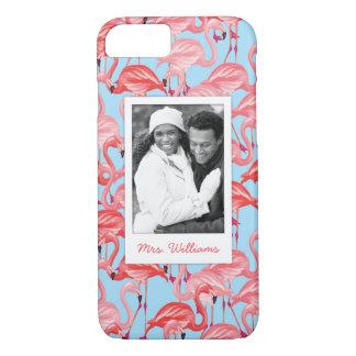 Foto de encargo y flamencos rosados brillantes funda iPhone 7