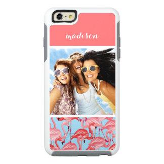 Foto de encargo y flamencos rosados brillantes funda otterbox para iPhone 6/6s plus